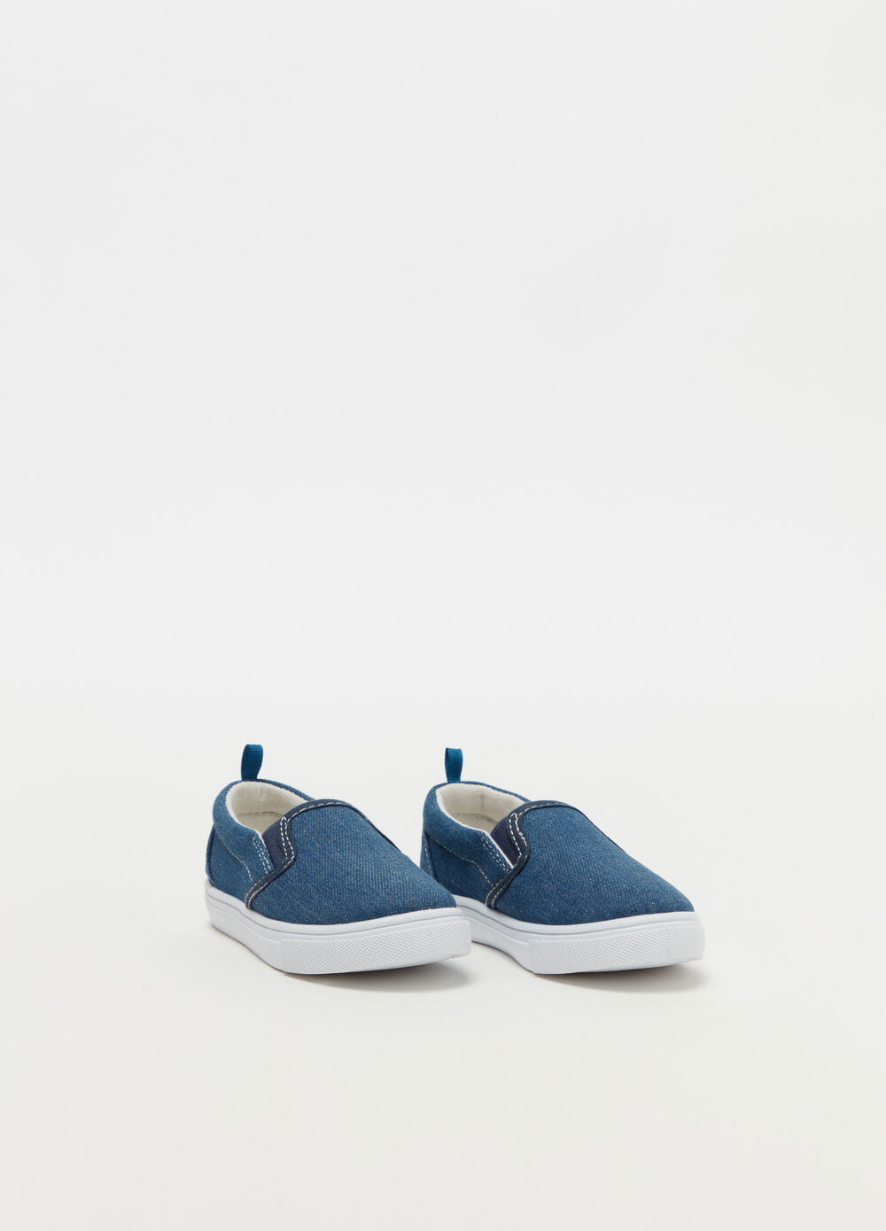 Slip on in denim con suola alta