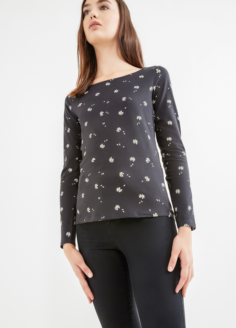 Patterned T-shirt in cotton jersey image number null