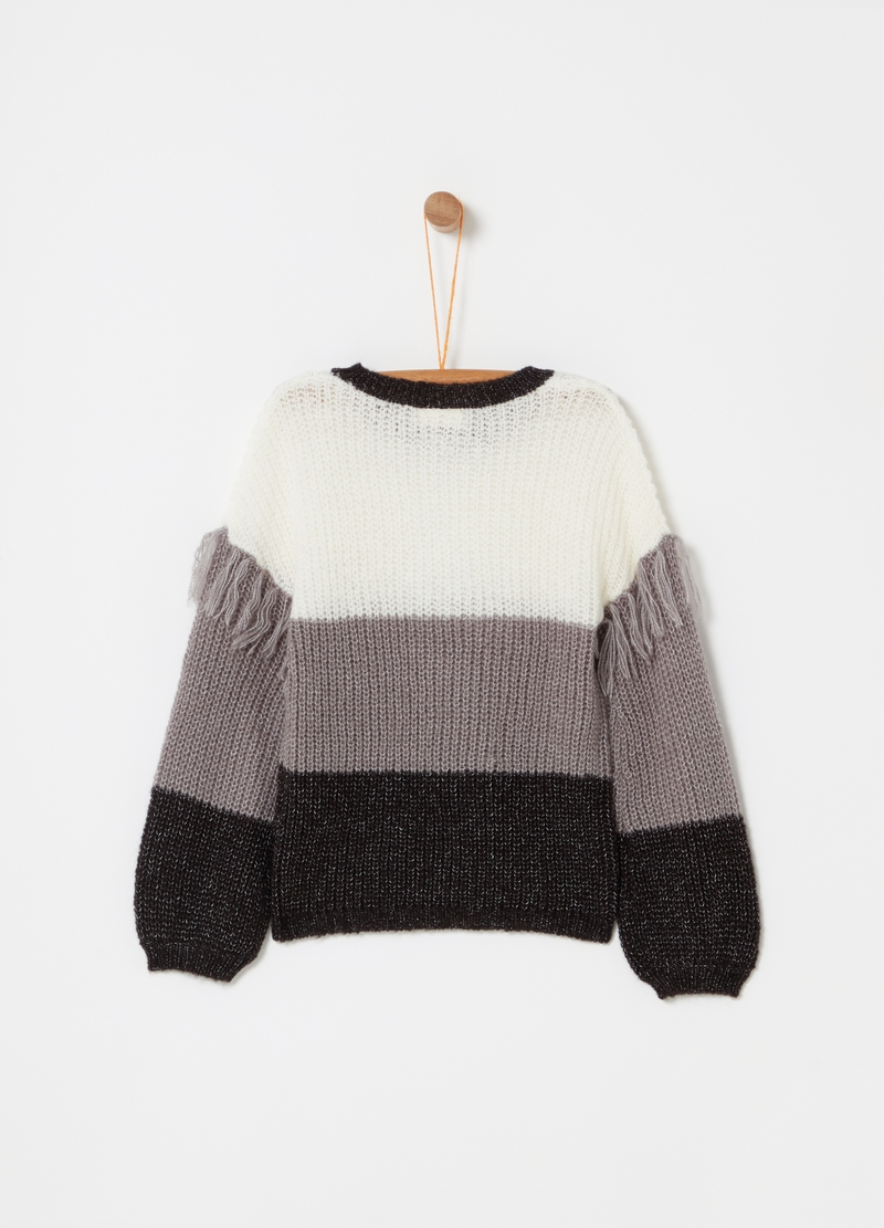Pullover tricot con frange a righe image number null
