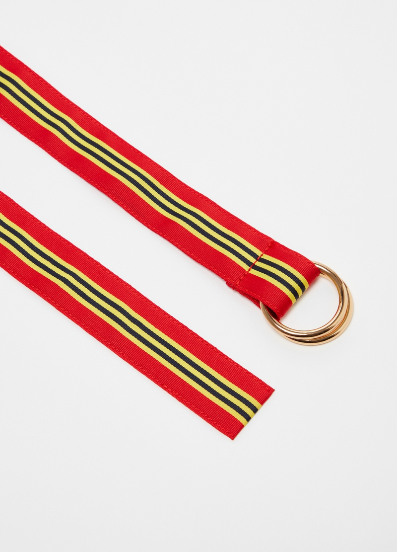 PIOMBO striped belt with ring buckle image number null