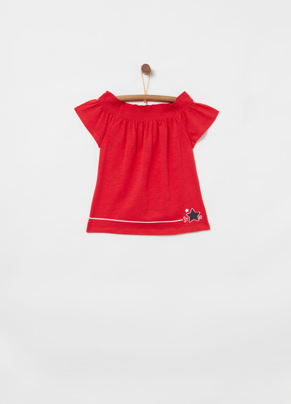 Slub jersey T-shirt with smock stitch neckline