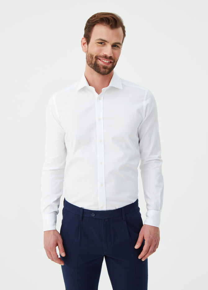 Slim-fit shirt in compact-weave cotton