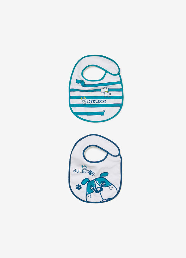 Two-pack bibs with puppy print