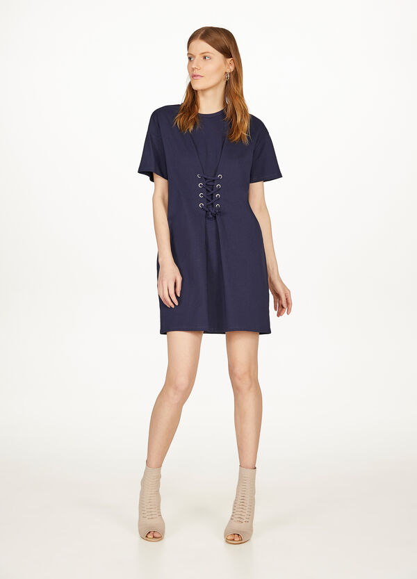 100% cotton dress with eyelets and laces