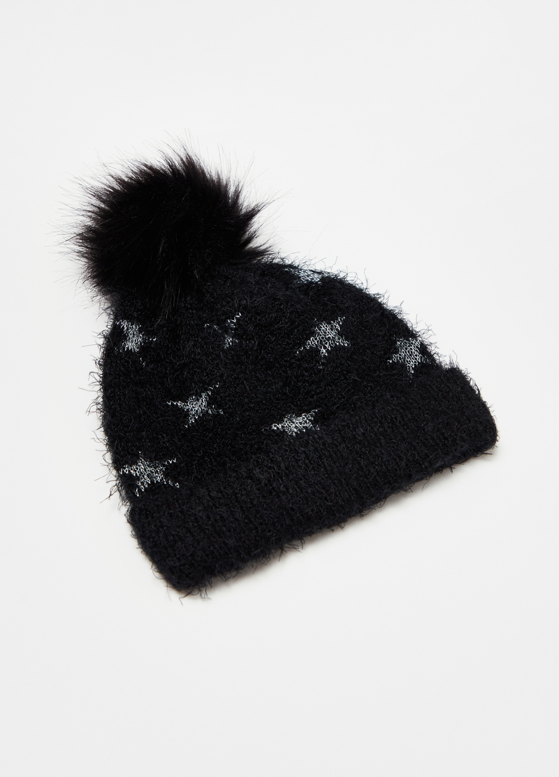 Hat with pompom and lurex stars image number null
