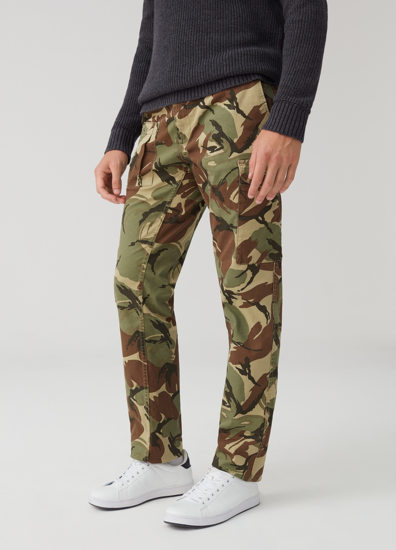 Camouflage patterned cargo trousers image number null