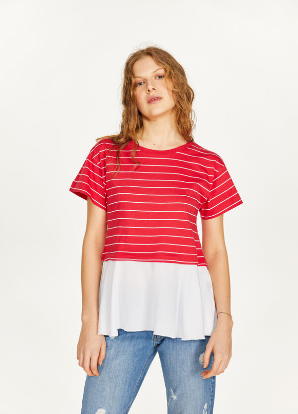 Faux layered striped T-shirt in 100% cotton