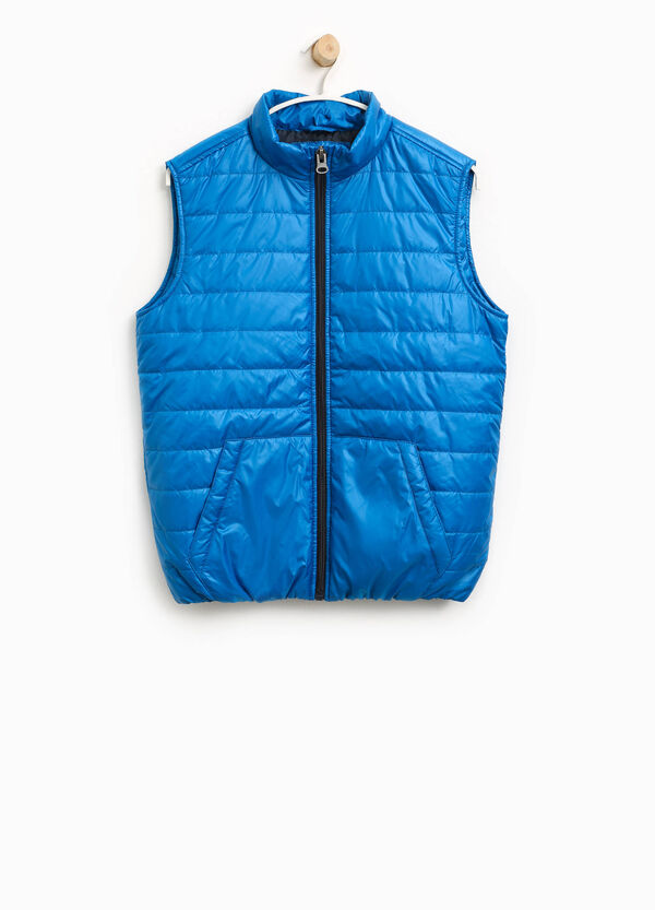 Padded gilet with solid colour high collar | OVS