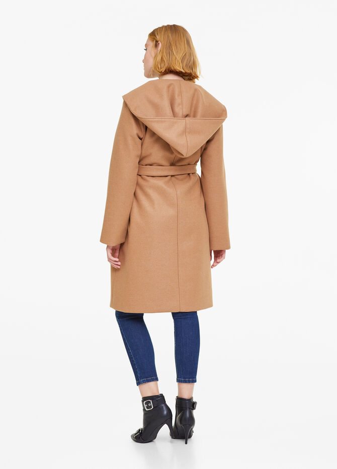 Viscose blend coat with belt