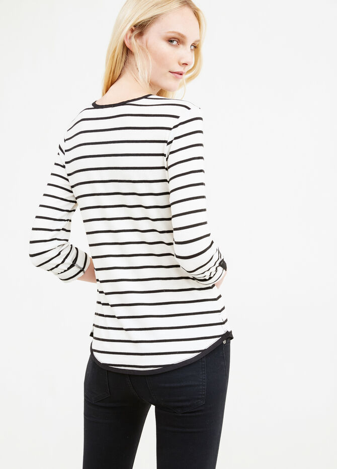 Stretch viscose T-shirt with striped pattern