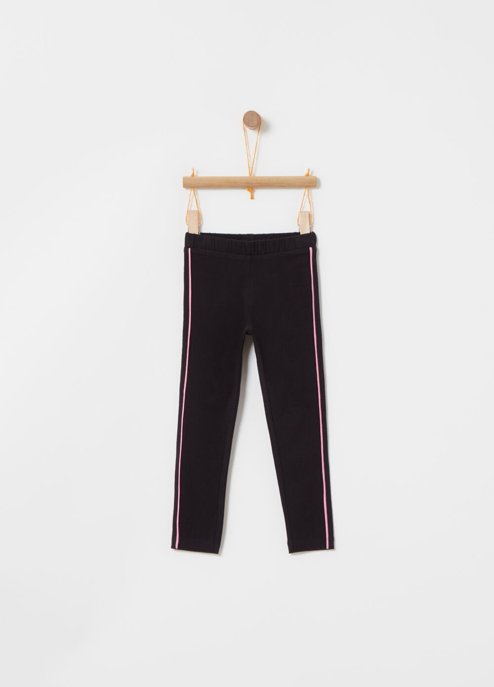 Stretch leggings with contrasting bands