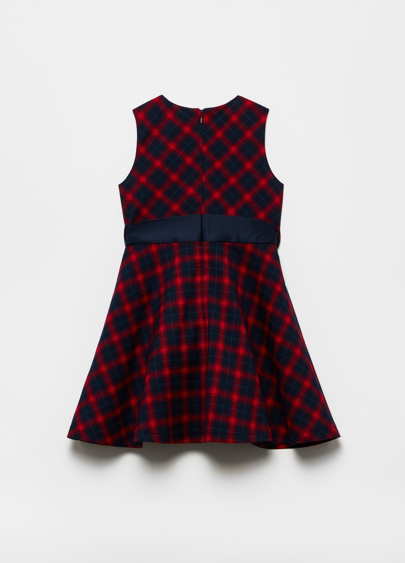Dress with bow and check pattern image number null