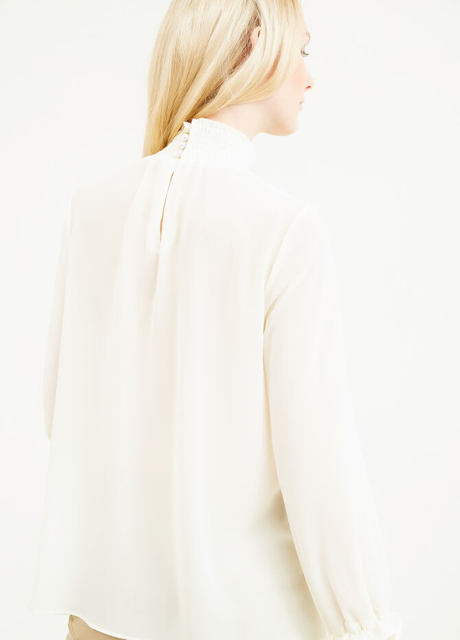 Blouse with high neck and cuffs with frills