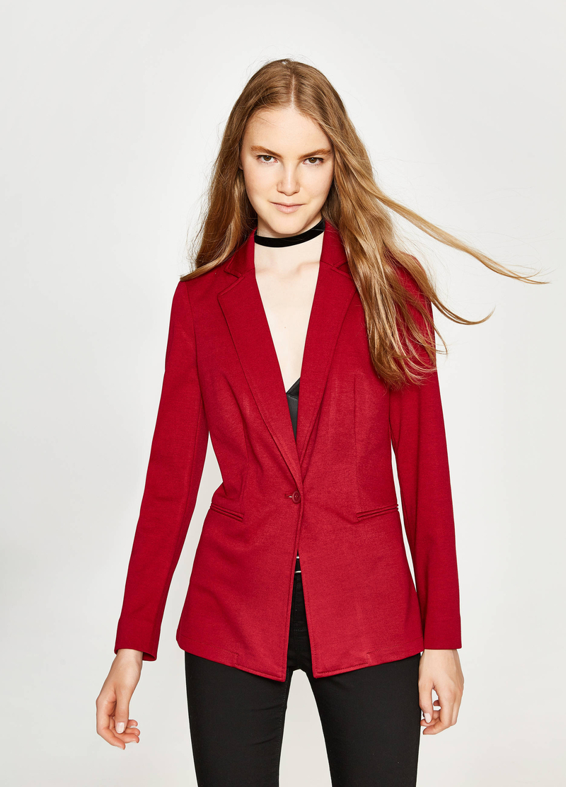 Stretch viscose blazer with lapels image number null
