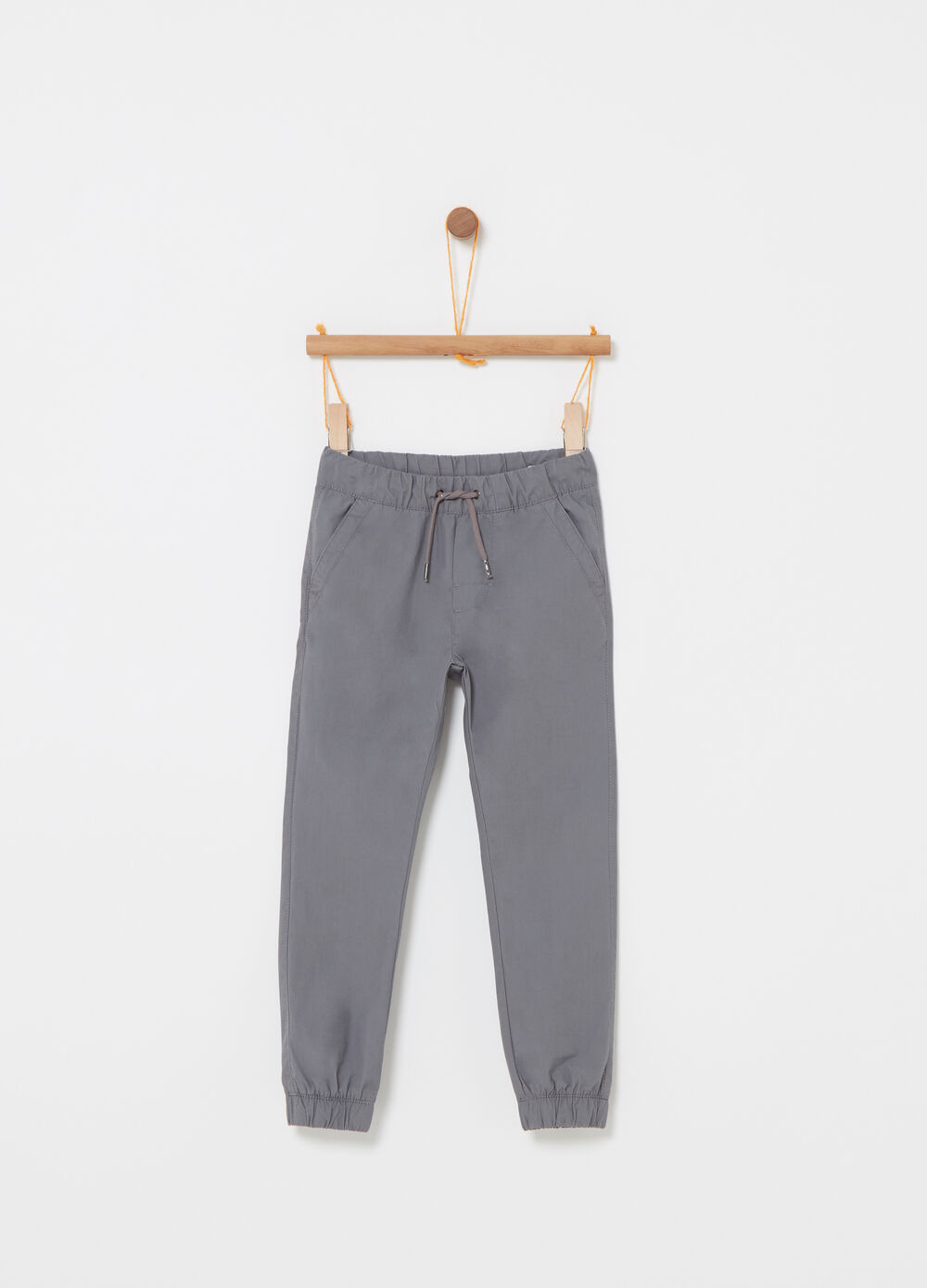 Poplin trousers with drawstring