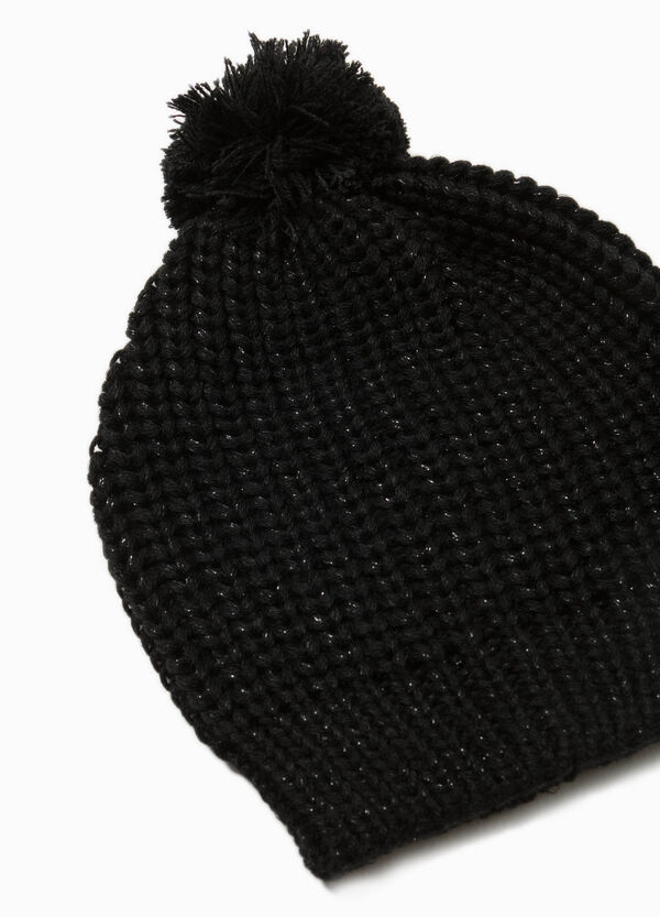 Knit beanie cap with pompom | OVS