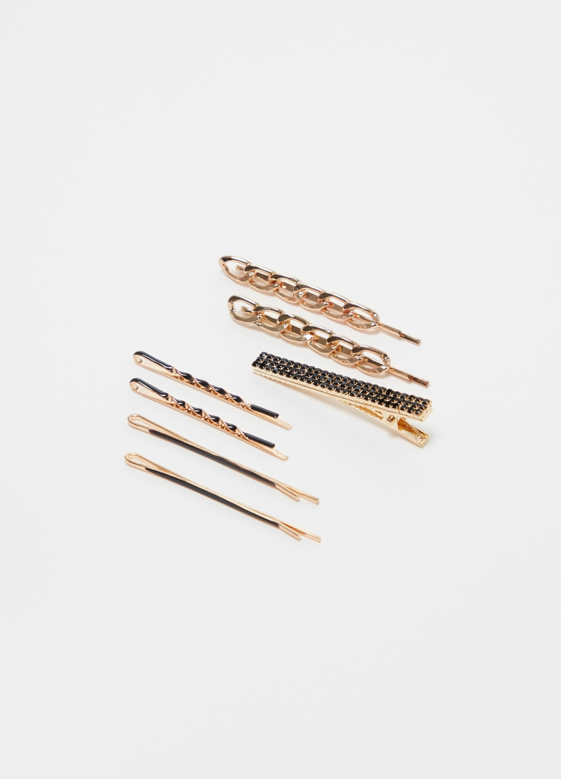 Set of six hairpins and clip with diamantés image number null