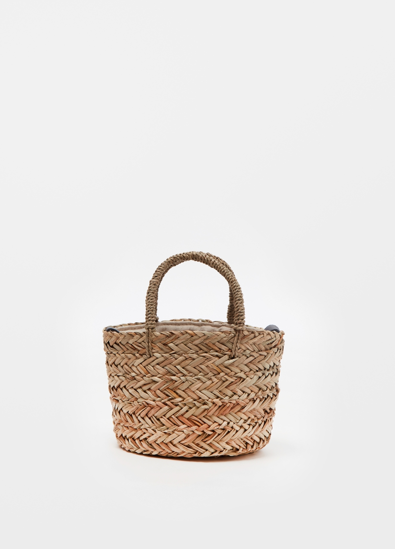 Straw bucket bag with handles image number null
