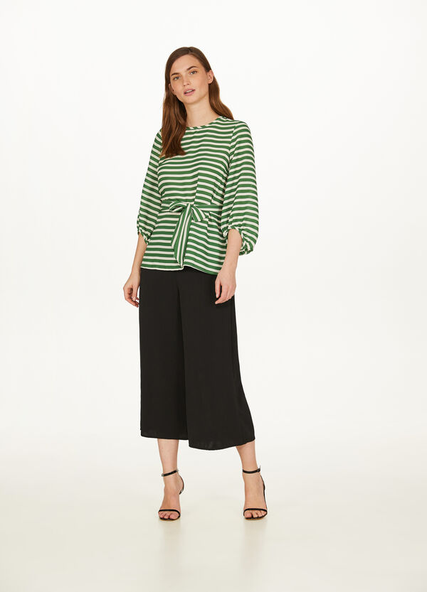 Blouse with three-quarter striped sleeves