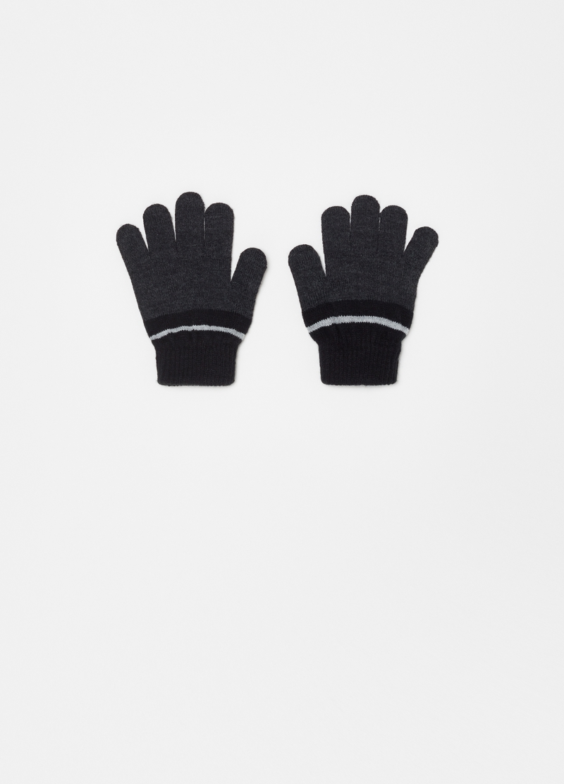 Two-tone gloves with contrasting trim image number null