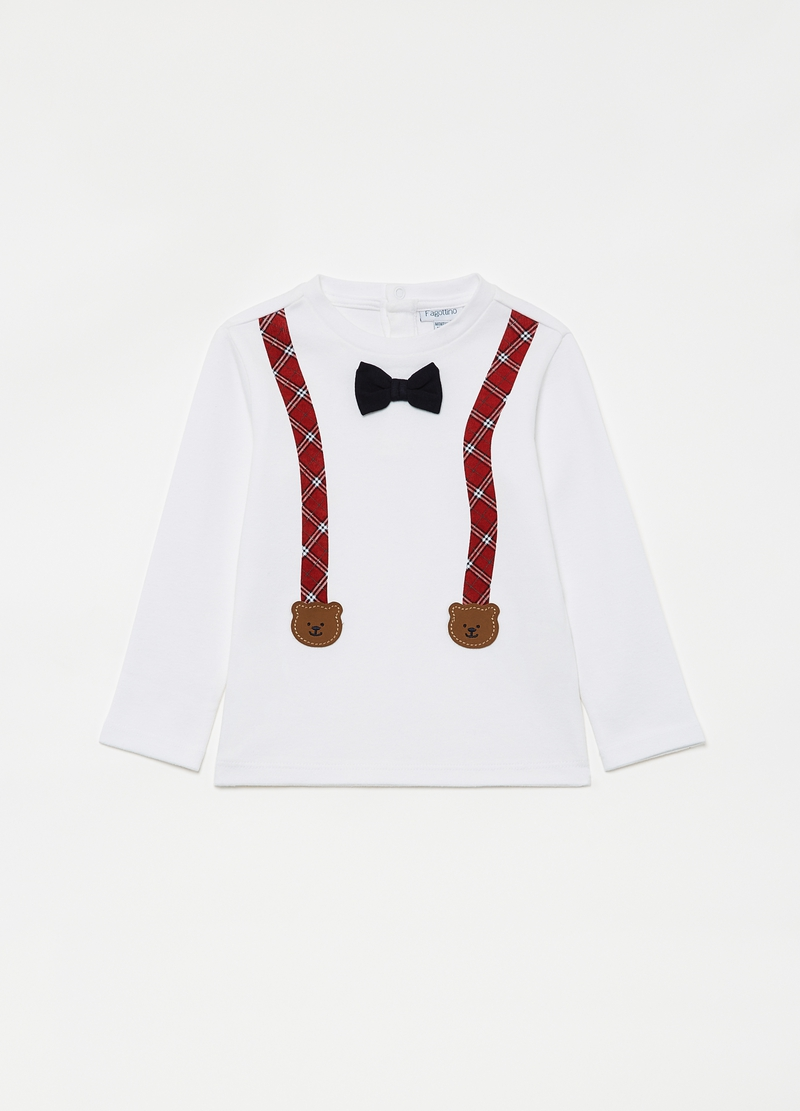 Organic cotton T-shirt with bow tie and braces image number null