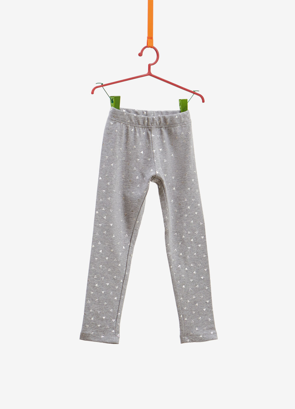 Stretch cotton leggings with glitter triangles