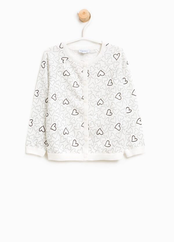 Heart patterned cotton cardigan
