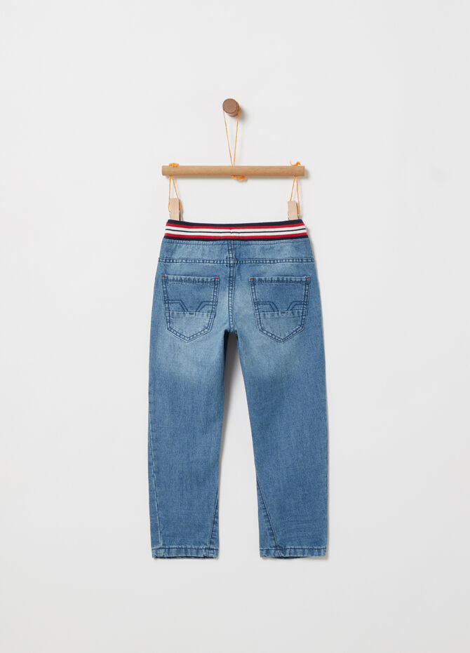 Washed-effect tapered-fit denim joggers