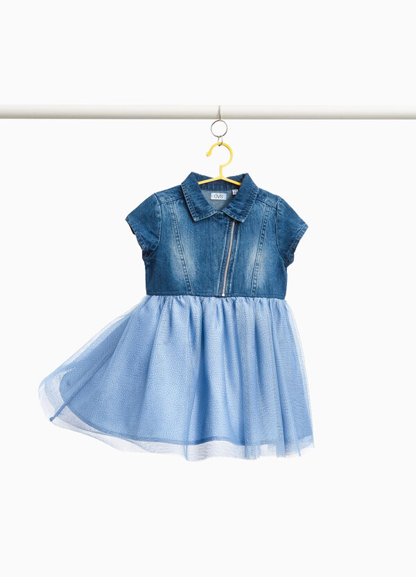 Denim dress with tulle skirt