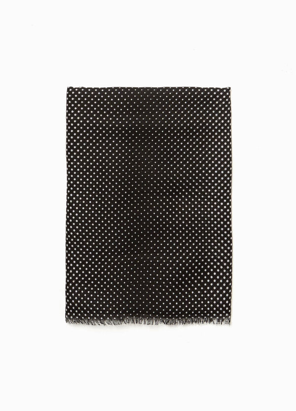 Polka dot fringed scarf