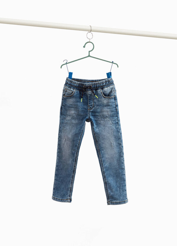 Jeans jogger fit used con abrasioni