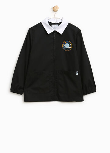 Cotton blend smock with patch and zip