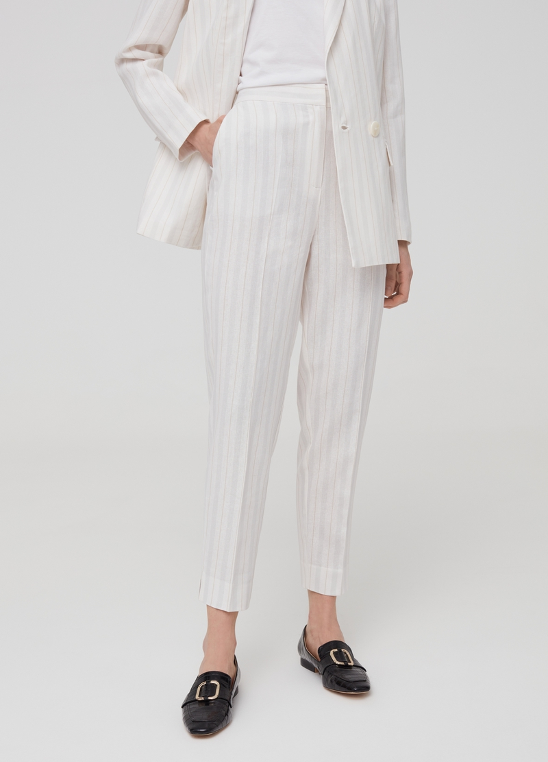 Striped trousers in viscose and linen image number null
