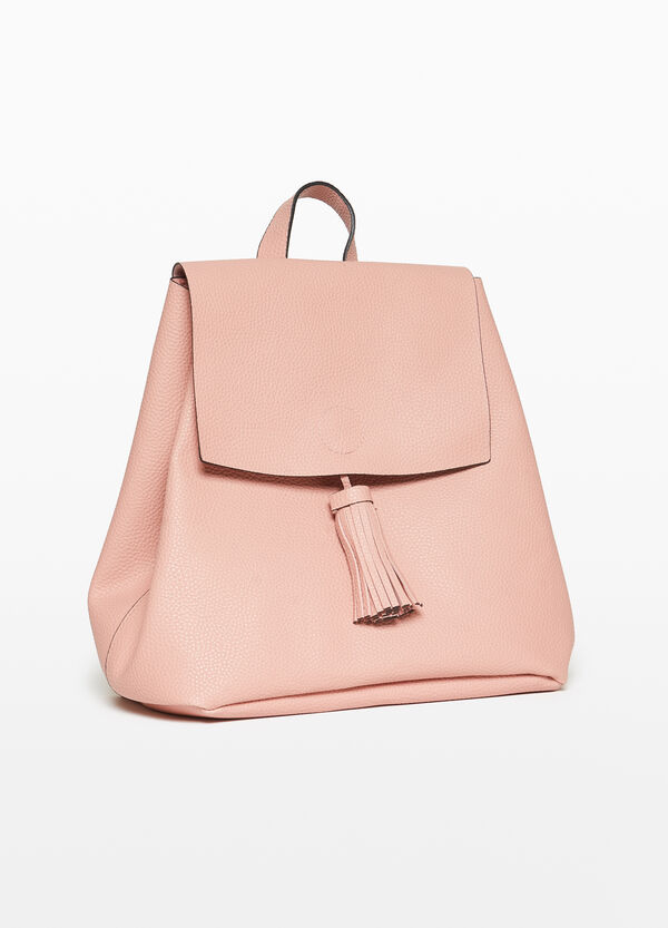 Textured-effect backpack with tassel