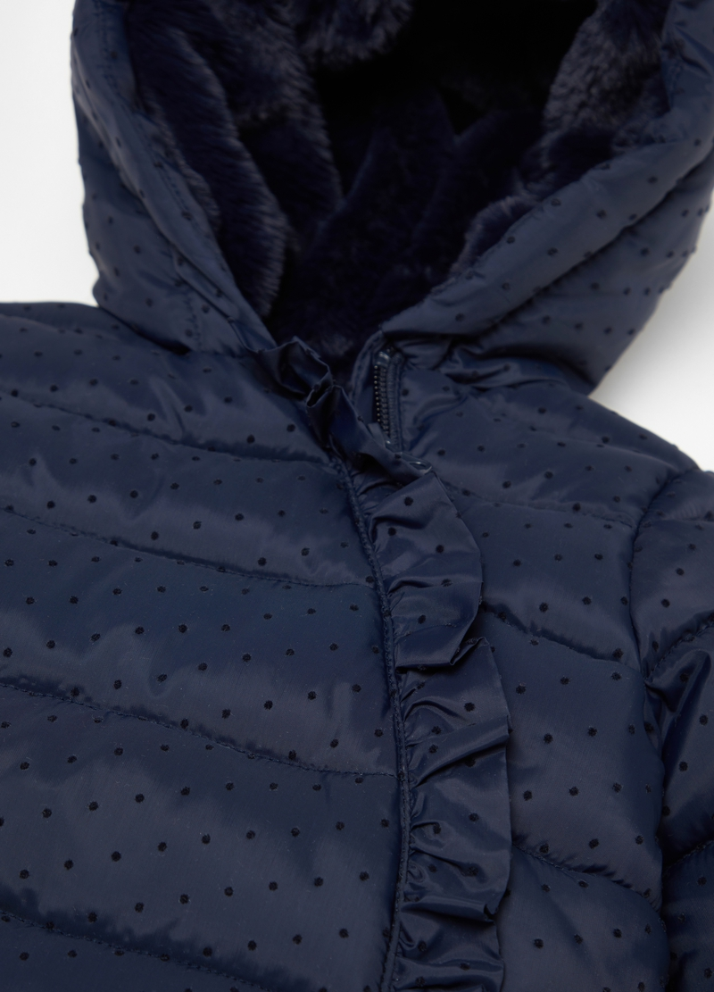 Padded jacket with polka dots and frills image number null