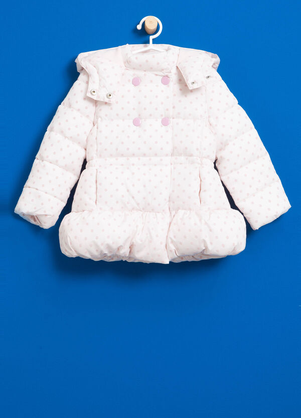 Jacket with polka dot pattern and hood