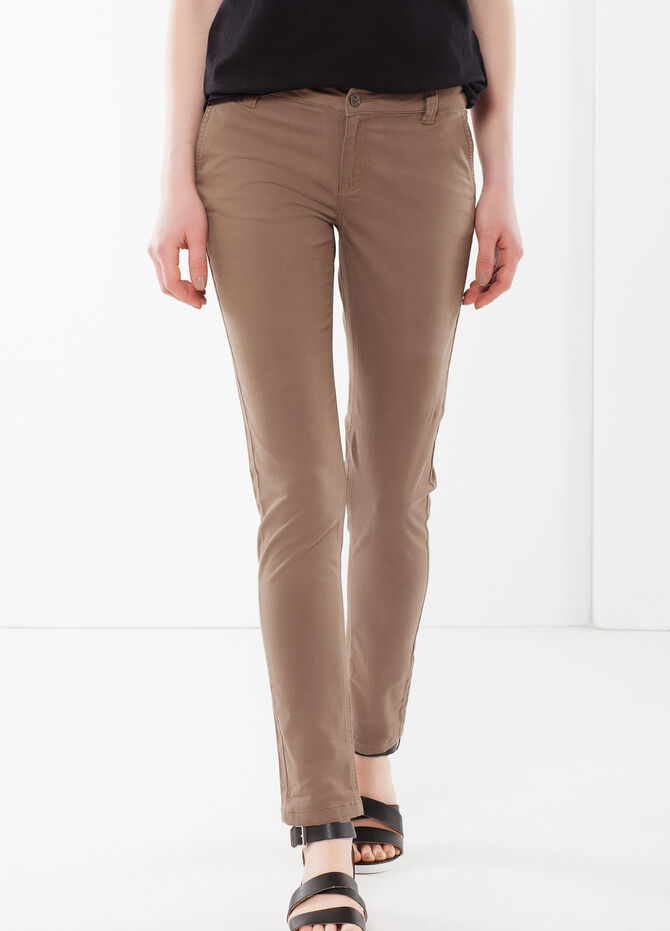 Stretch pants with zip