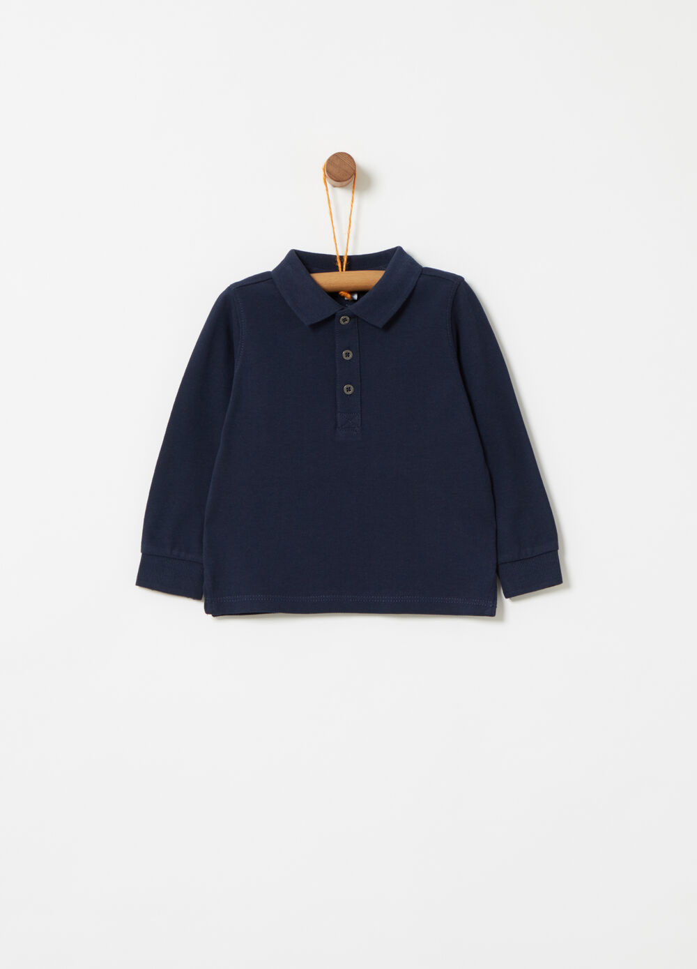 Piquet polo shirt with ribbed neckline and cuffs