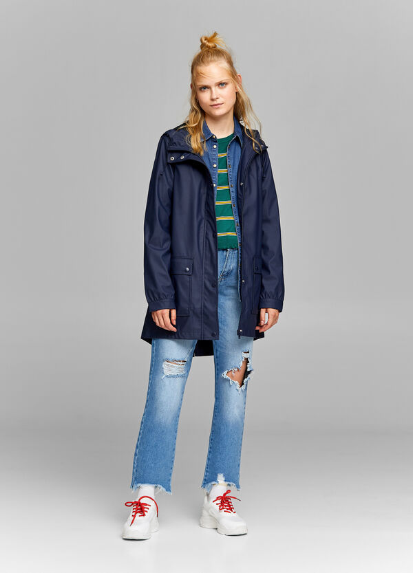 Rubber-effect parka with pockets