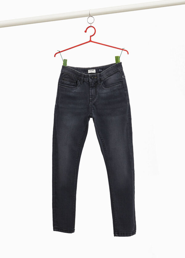 Skinny-fit stretch jeans with whiskering
