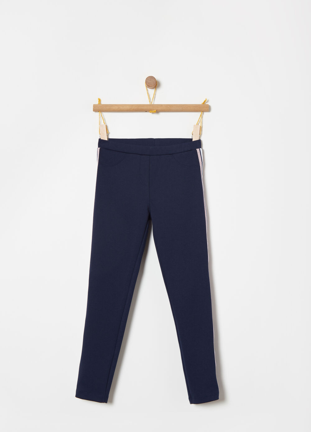 Slim trousers with lurex side bands