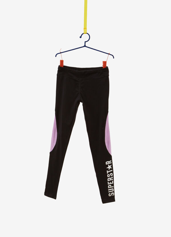 Leggings cotone stretch inserti stampa
