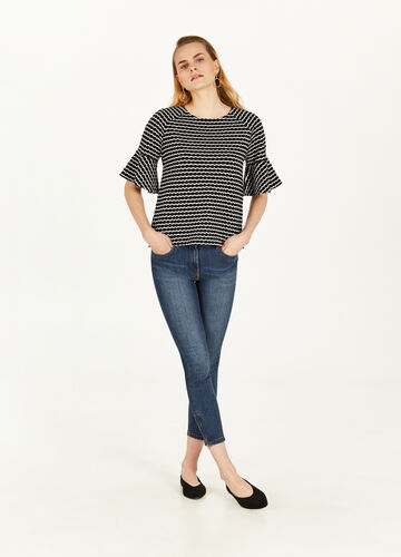 Striped cotton T-shirt with flounce
