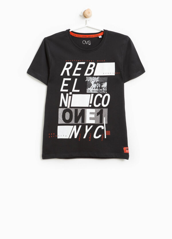 T-shirt in cotone stampa e patch   OVS