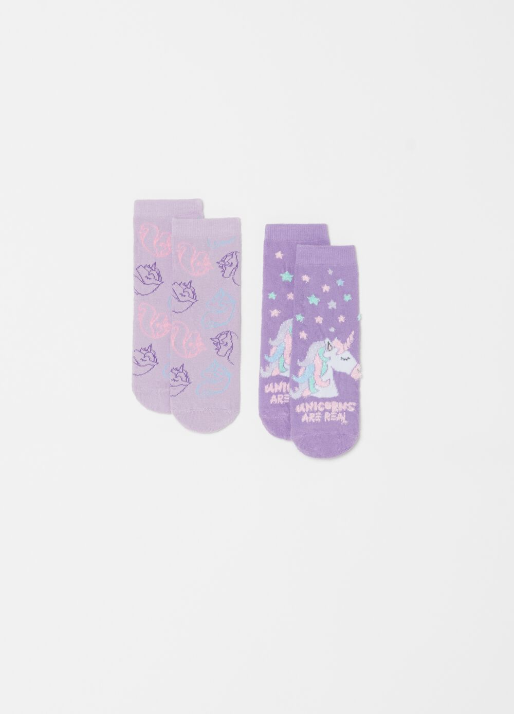 Two-pair pack stretch socks with contrasting pattern