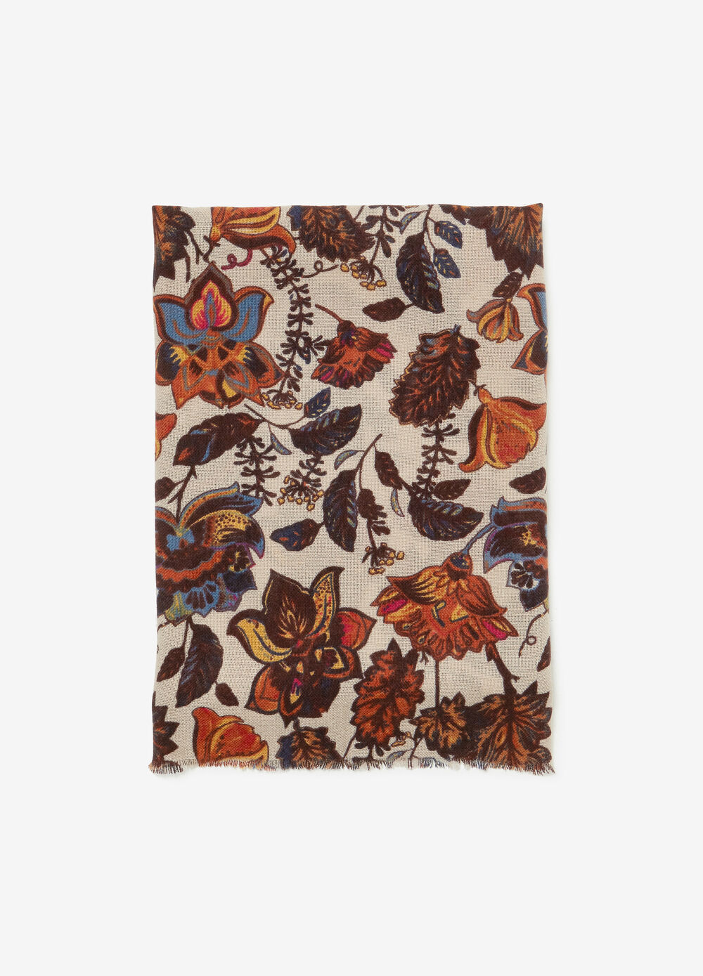 Wool-effect scarf with flower pattern