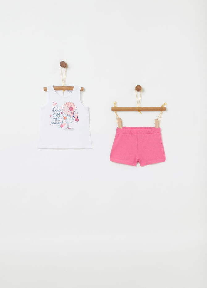 Jogging set tank top e shorts con stampa