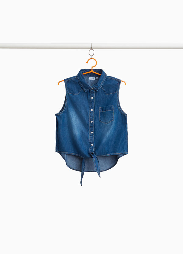 Washed-effect sleeveless denim shirt
