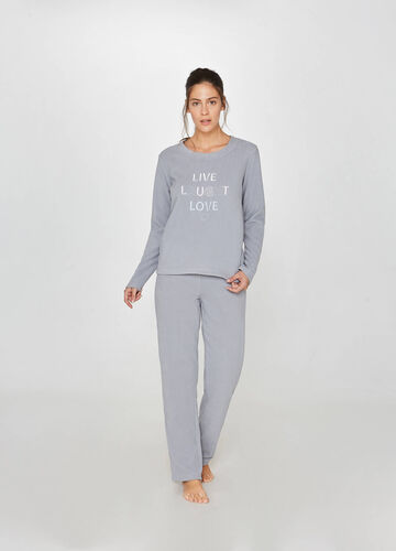 Fleece pyjama top with lettering embroidery