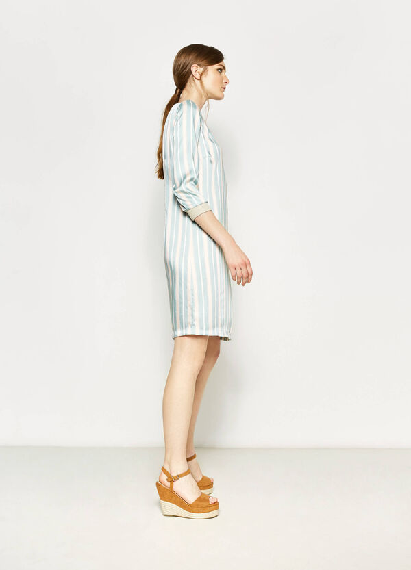 Striped dress with boat-neck | OVS